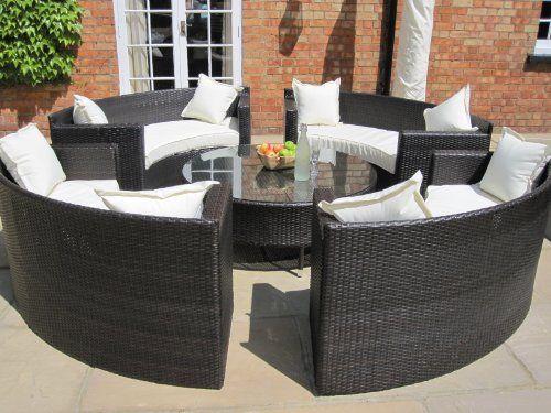 lauren luxury grey rattan garden furniture circular sofa and coffee table set