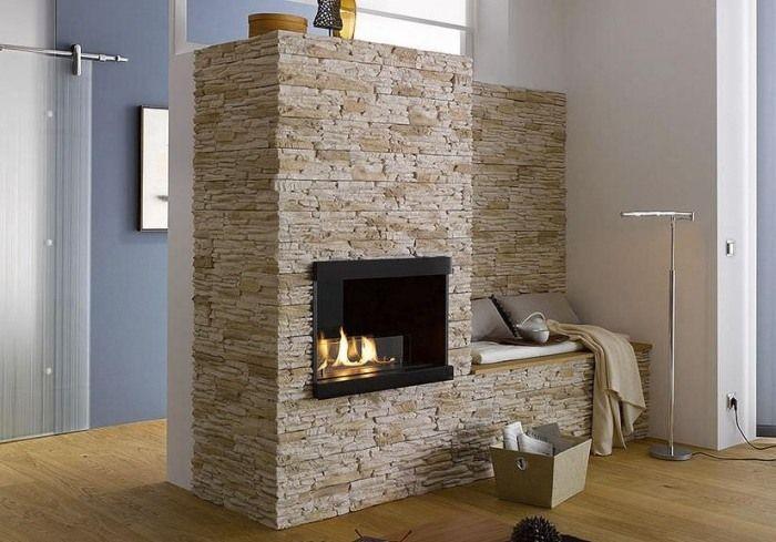 Kaminverkleidung Mit Natursteinstreiefn Ideen Frs Wohnzimmer Chillige Atmosphre