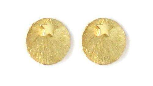 Til disse øreringe er der brugt følgende materialer:  1 par ørestik, stjerne 4 mm i forgyldt sterlingsølv 2 stk. børstet mønt med hul i kant 10 mm, forgyldt messing