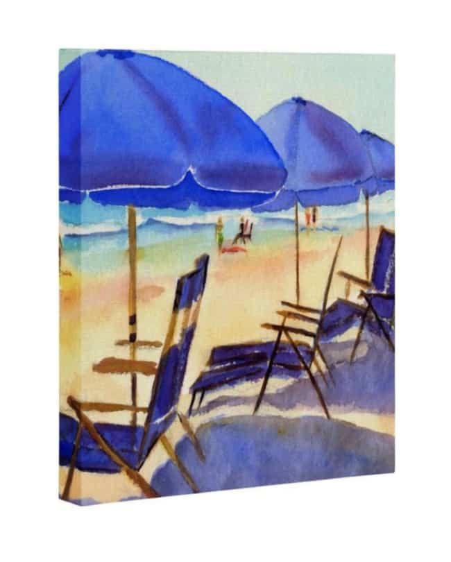 Beach Chairs Art Canvas In 2019 Beach Beach Art Watercolor