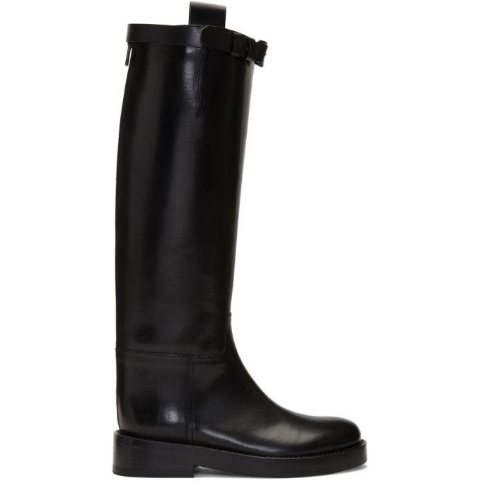 Ann Demeulemeester Black Buckle Riding Boots Boots Riding Boots Ann Demeulemeester