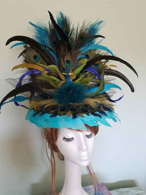 Absolutely Stunning Large Tall Teal Blue Green Peacock  fb6db6f35af