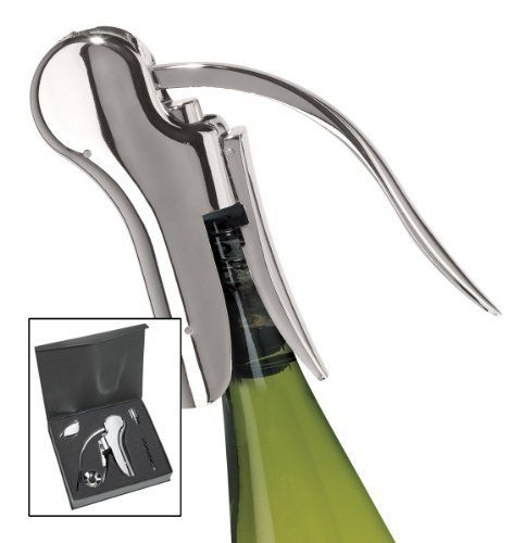 Oggi 5-Piece Wine Bottle Corkscrew Set, Chrome by Oggi. $37.13. Chrome finish. More natural and comfortable grip so its easier to open a bottle of wine. Pull corkscrew stands up on a bottle and operates vertically. Gift boxed. Oggi's executive 5-piece wine bottle corkscrew set includes: wine bottle opener, extra corkscrew worm, foil cutter, pouring spout with drip ring collar and bottle stopper. Gift boxed, Chrome finish.