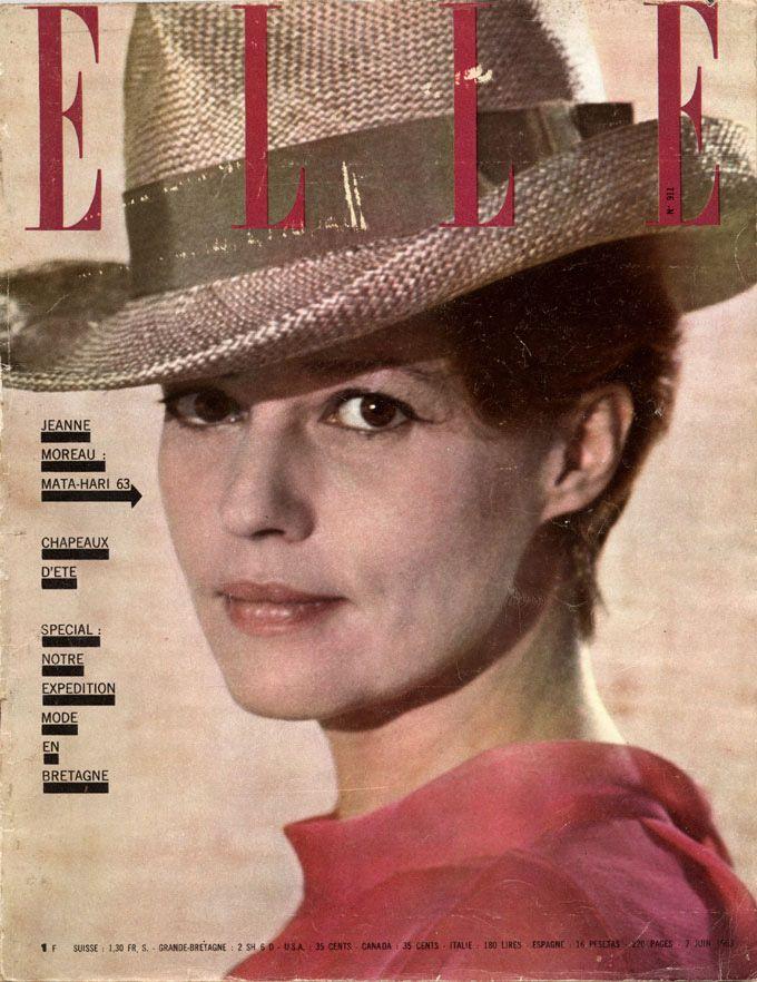 Jeanne Moreau en couverture de Elle n°911 du 7 juin 1963 -  photo Lionel Kazan