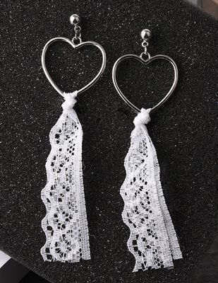Lace Heart Shape Earrings White | Anting | habibstore3.com Grosir Fashion Termurah dan Terbesar di Indonesia