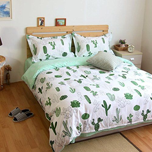 LELVA Cactus Print Bedding Set Cotton Bedding Duvet Cover Set Kids Beddng  Set Flat / Fitted Sheet Set Green 4pcs (Queen, Fitted Sheet)