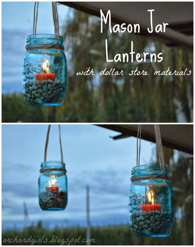 DIY Porch and Patio Ideas -Mason Jar Lanterns  - Decor Projects and Furniture Tutorials You Can Build for the Outdoors -Swings, Bench, Cushions, Chairs, Daybeds and Pallet Signs  http://diyjoy.com/diy-porch-patio-decor-ideas