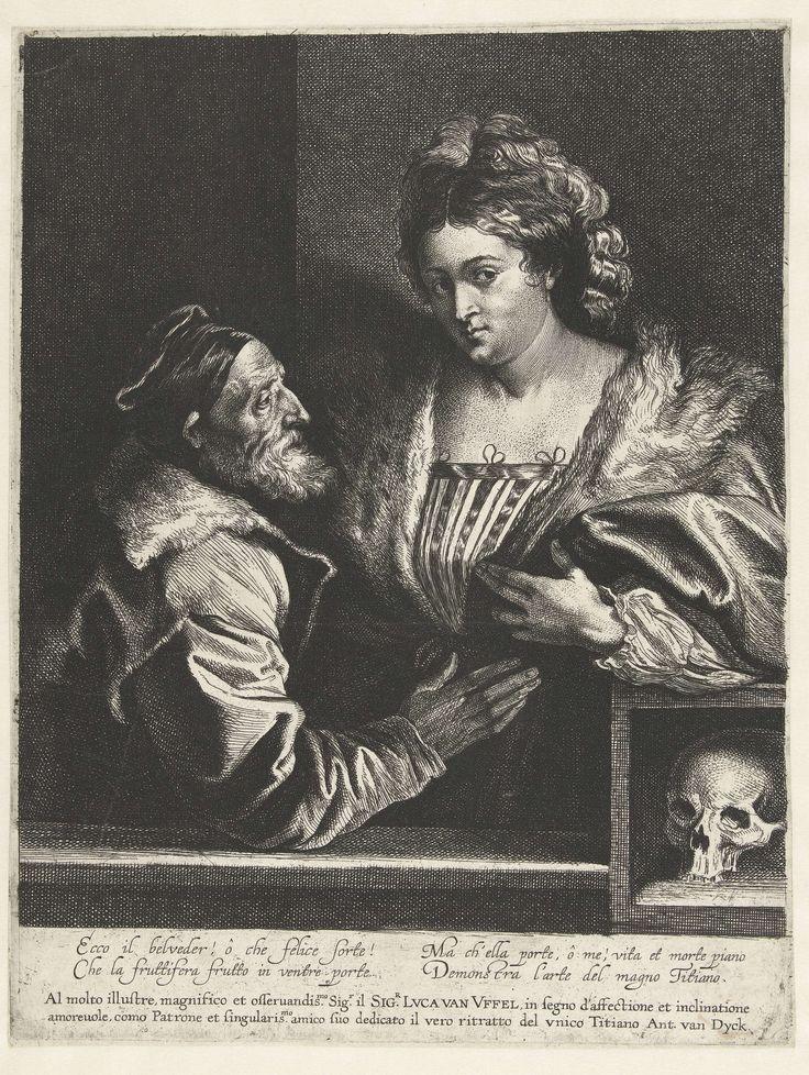 Anthony van Dyck | Titiaan en zijn maitresse, Anthony van Dyck, Lucas Vorsterman (I), 1627 - 1641 | Kopie naar zelfportret van Titiaan met een jonge vrouw. Rechtsonder een doodshoofd. Het schilderij van Titiaan is verloren  gegaan, door de ets van Van Dyck weten we hoe het portret er uitzag. Onder het portret in de marge staat een dedicatie aan de handelaar en kunstliefhebber Lucas van Uffel en een Italiaans gedicht.