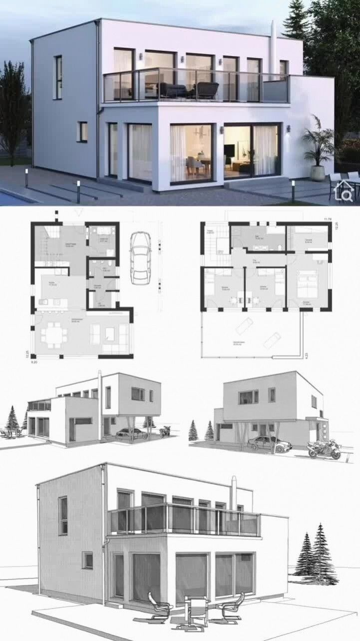 Single Family House City Villa New Building Facade Is Modern With A Flat Roof Plaster In A Bauhaus In 2020 Beautiful House Plans Modern House Plans Model House Plan