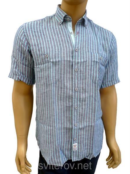 Полосатая льняная рубашка