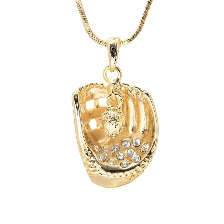 Gold Plated Crystal Softball with Hanging Ball Necklace - Spinningdaisy - 1