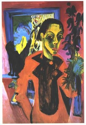 Self Portrfait with Cat - Ernst Ludwig Kirchner