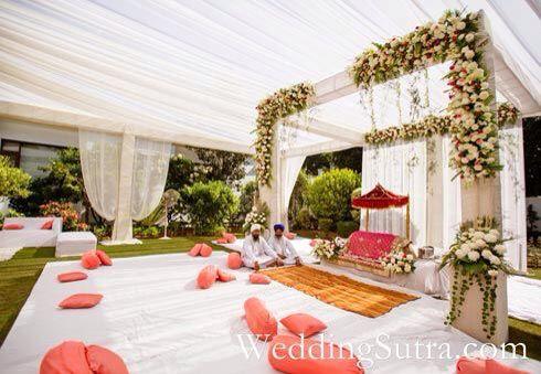 cute outside Sikh wedding setup.