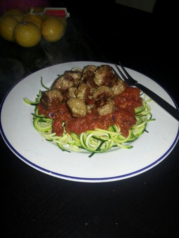 Lauren's turkey meatballs and spicy marinara sauce on zuchini pasta ...