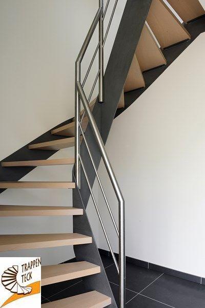Houten trap met metalen afwerking van trappen teck puurs for Stalen draaitrap