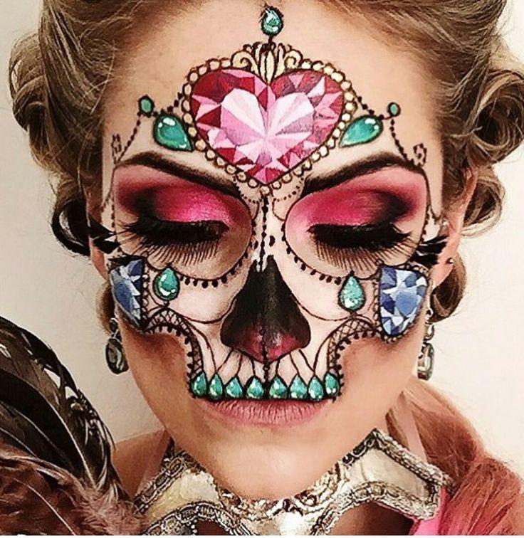 Jeweled skull makeup
