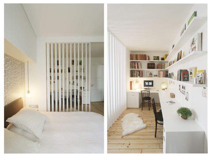 Agencement d'un espace chambre / bureau, séparés par des claustras sur pivots - Réalisation de l'agence Entre Les Murs - Annecy
