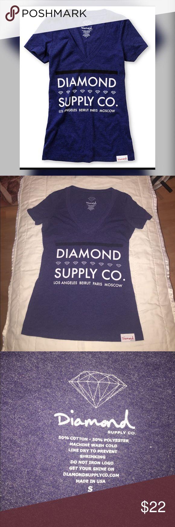 Diamond Supply Co Roots Dark Blue V-Neck T-Shirt Size small Diamond Supply Co Roots Dark Blue V-Neck T-Shirt . Excellent condition. Diamond Supply Co. Tops Tees - Short Sleeve