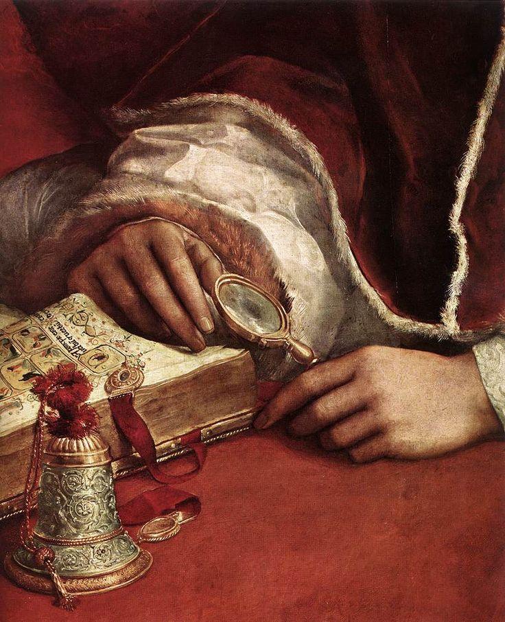 """Dettaglio from """"Il Ritratto di Leone X con i cardinali Giulio de' Medici e Luigi de' Rossi"""" by Raffaello Sanzio da Urbino (1518) @ Galleria degli Uffizi, Firenze, Italy"""