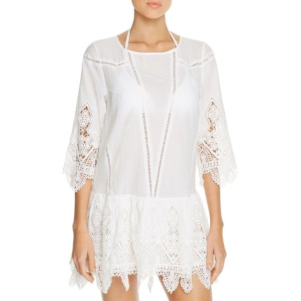 Suboo Prairie Dress Swim Cover-Up (€265) ❤ liked on Polyvore featuring swimwear, cover-ups, white, white beach cover up, boho swim cover up, beach cover up, bohemian swimwear and white swim cover up