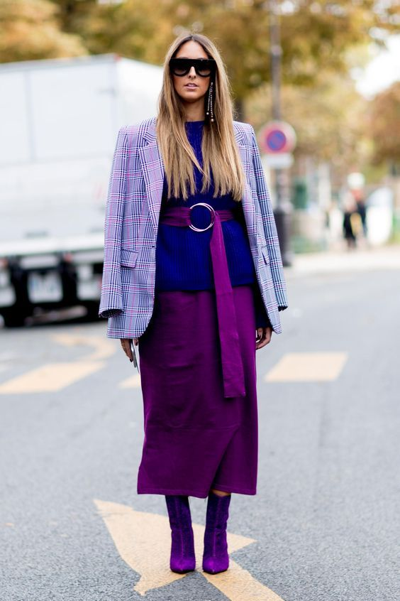 Lavender Outfit Ideas to Try in 2018: Plaid blazers are having a moment. Try a lavender plaid jacket with deep jewel tones like a magenta midi skirt and purple sweater.