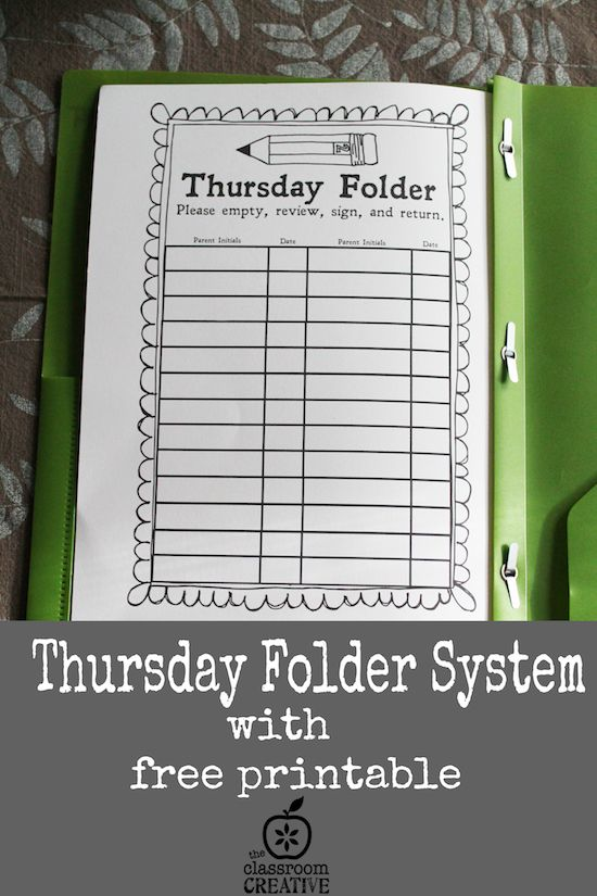 Start your school year off right with THURSDAY FOLDERS!  It's a classroom management must-have.  I explain the why and how here.    Also, there's a free printable Parent Sheet!