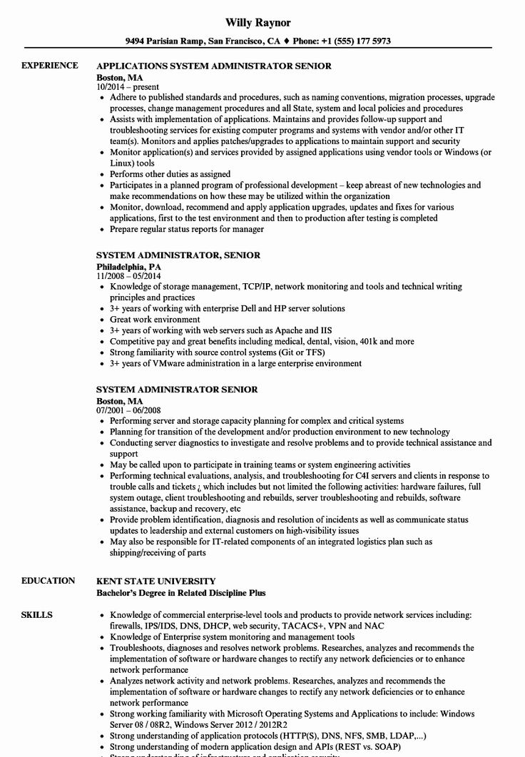 System Administrator Resume Examples New System