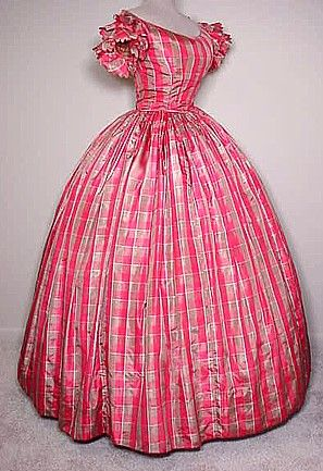 Pink plaid evening dress, ca. 1860s   In the Swan's Shadow