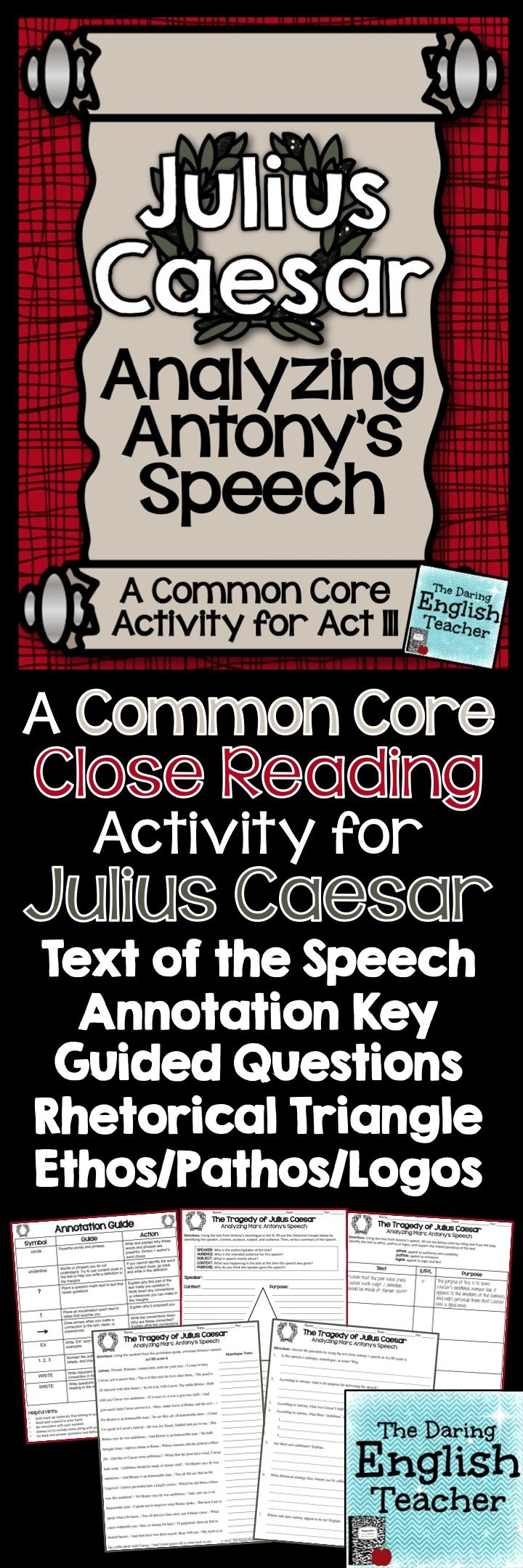 A common core close reading activity for Julius Caesar. #highschoolenglish #Shakespeare