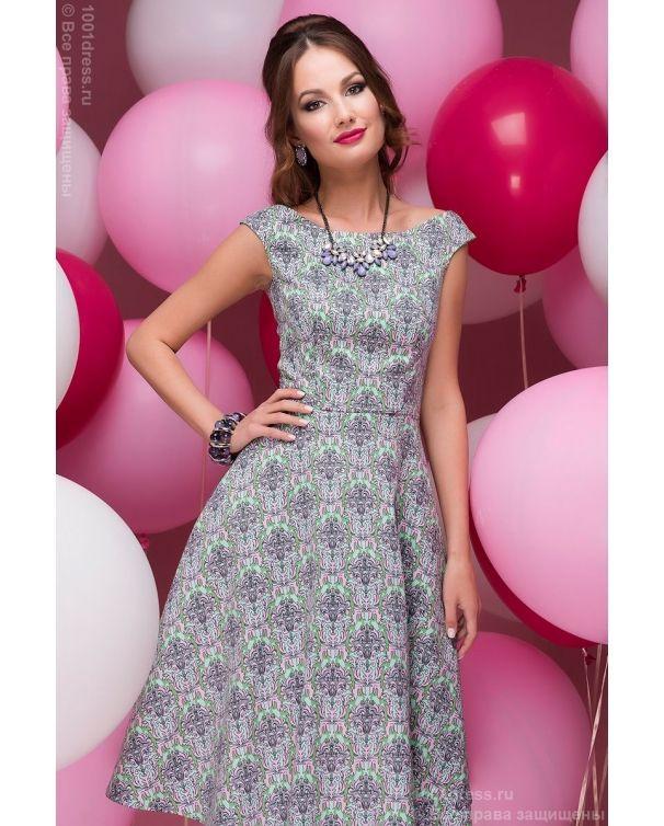 фото Платье мятного цвета длины миди с принтом без рукавов