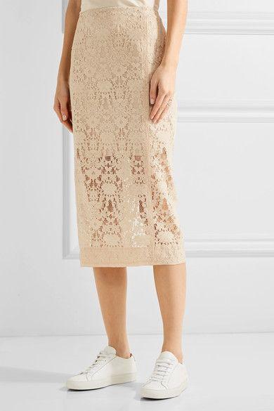 DKNY - Flocked Lace Pencil Skirt - Cream - US10
