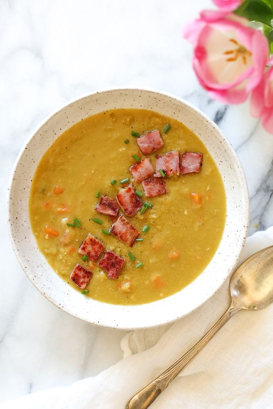 Whenever I make a ham, I always save the ham bone for this delicious pressure cooker Split Pea Soup with Ham recipe.