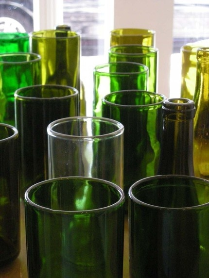 2000 Dollar Budget Wedding: DIY: Make Your Own Recycled Wedding Reception Vases---ask for wine bottles at Olive Garden.