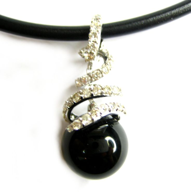 #Black #Onyx Sphere set with #Diamonds on a #Neoprene #Necklace