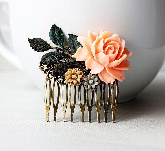 Peach Rose Latte Grey Flowers with Verdigris by lunashineshine