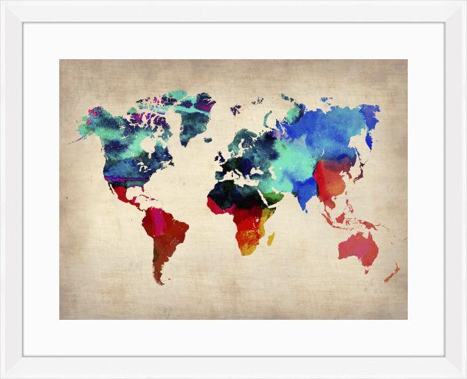 Quadro Mapa do mundo Aquarela (Naxart) | Crie seu quadro com essa imagem | #onthewall #quadro #moldura #decoração #decor #decorativo #mapa