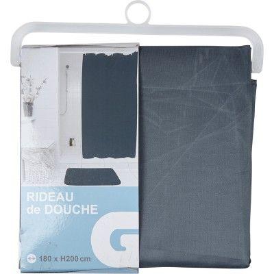 Rideau de douche gris, dim. 180x200 cm, polyester.