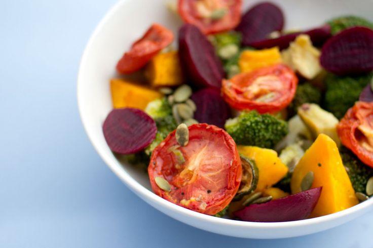 superfood salad - beetroot, slow roasted tomato, broccoli, pumpkin, sweet potato and pumpkin seed