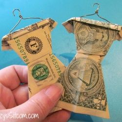 A unique way to personalize a gift of money for Graduation! A bit of cash for their college wardrobe! Folded money wardrobe!