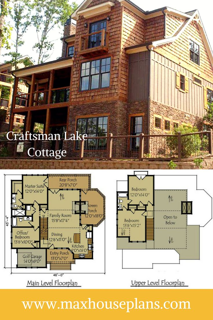 Watersound Cottage is a rustic craftsman lake cottage house plan that will work great at the lake or in the mountains. It has great views out all of the major rooms and plenty of porch space to enjoy the scenery from many angles.