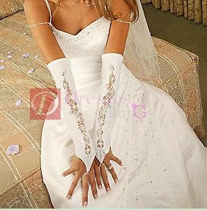 Half sleeve satin wedding cut_out glove