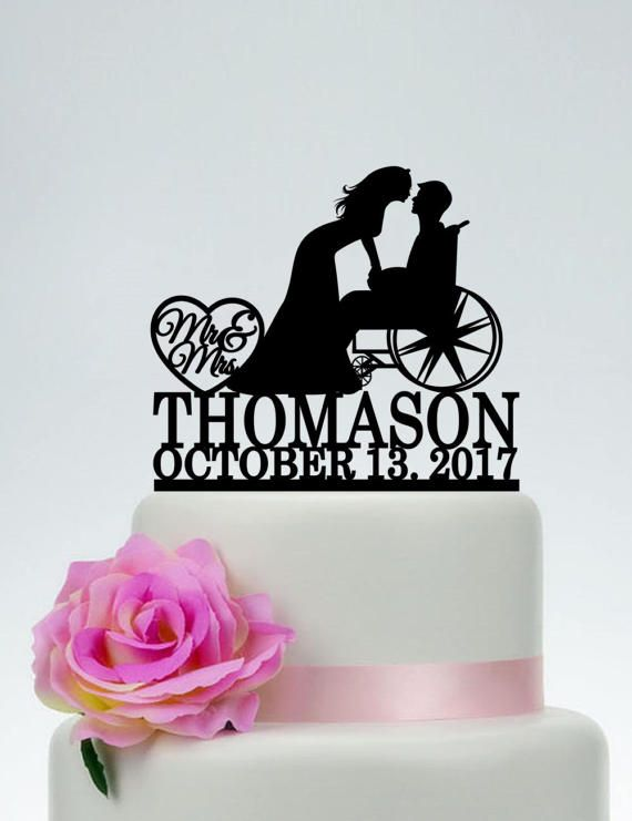 Wheelchair Wedding Cake Topper,Mr and Mrs Cake Topper With Surname,Groom in Wheelchair,Custom Cake Topper,Personalized Cake Topper C189