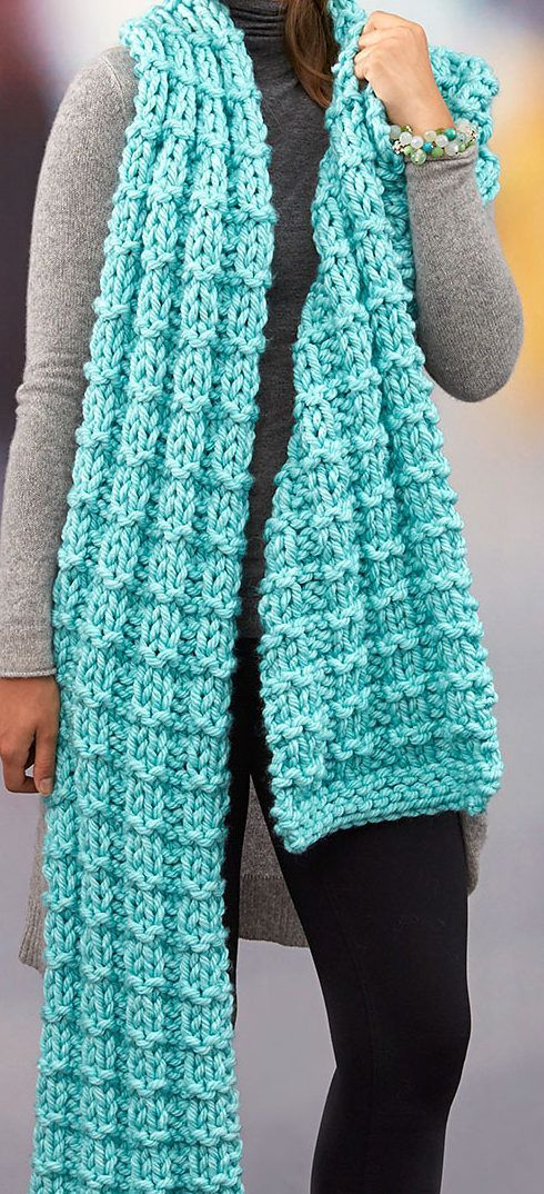 """Free Knitting Pattern for Easy Everlasting Super Scarf - Scarf measures 10"""" [25.5 cm] wide x 96"""" [244 cm] long.. Quick knit in jumbo yarn. Designed by Cathy Payson for Red Heart."""