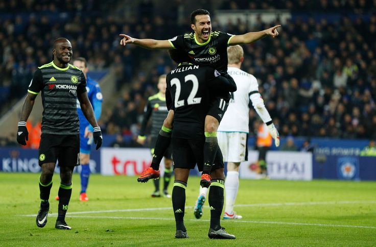 Pedro celebrates scoring their third goal: Leicester 0-3 Chelsea, 14 Jan 17