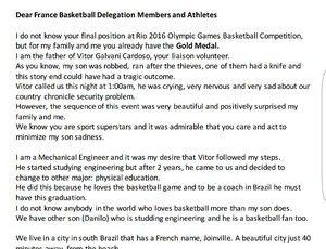 voluntário basquete frança vitor Galvani rio 2016 carta pais (Foto: Arquivo…