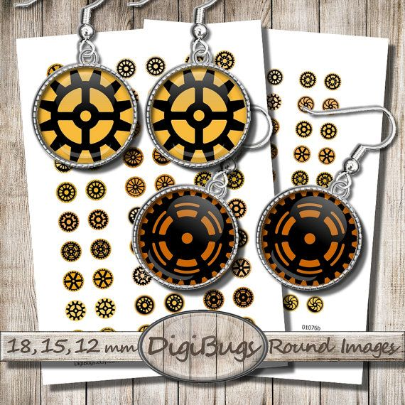 Digital Collage Sheet, Round Gear Images, Steampunk Circle Printable, 12 mm, 15 mm, 18 mm Circles, Orange & Black Gear, Instant Download, c8
