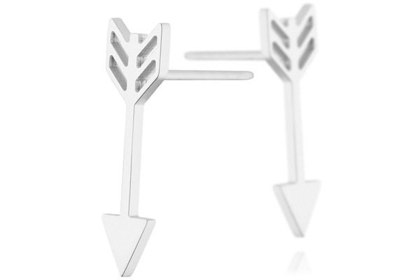 Boucles d'oreilles puces flèche en acier Zag Bijoux