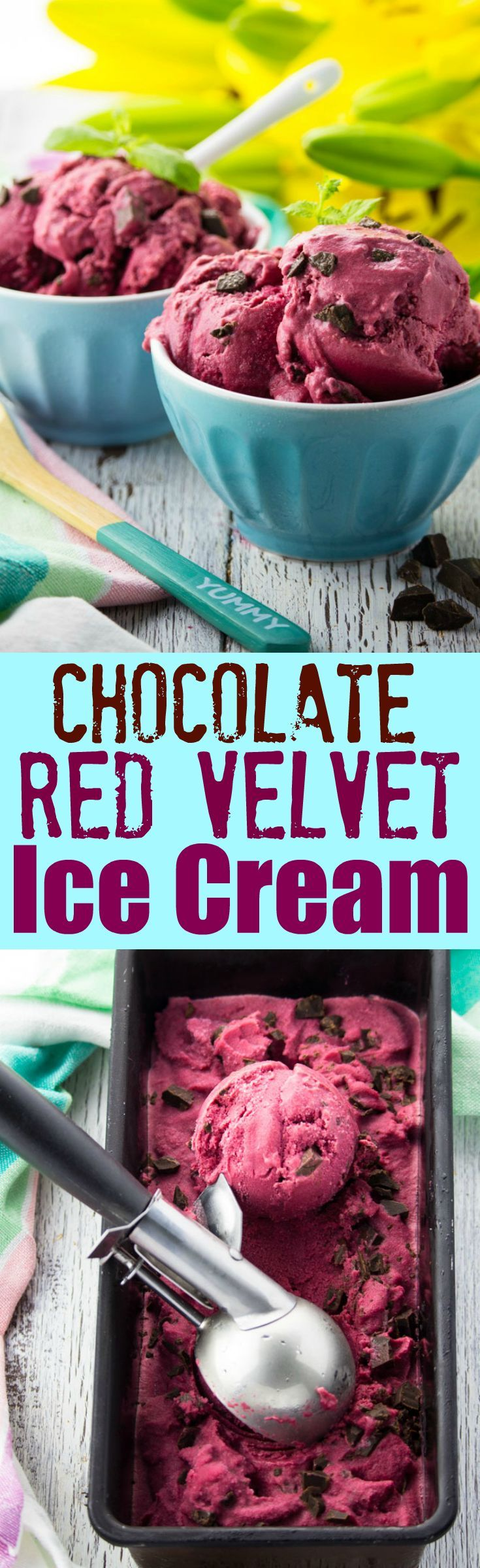 This vegan chocolate chunk beet ice cream with coconut milk is packed with flavor! Don't miss out on this unusual combo, which is just perfect for summer! You could also call it natural vegan red velvet ice cream if you want.