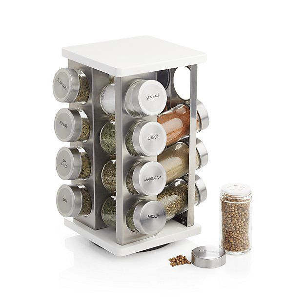 16-Bottle White Revolving Spice Rack | Crate and Barrel