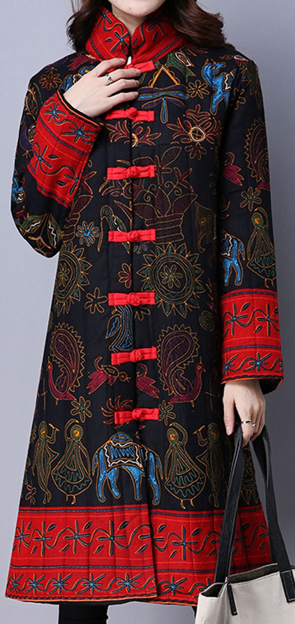 US$44.89 + Free shipping. Size: S~2XL. Fall in love with casual and vintage style! Gracila Vintage Women Chinese Frog Stand Collar Printed Long Sleeve Coats. #coats #winter #women
